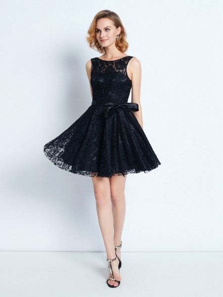 A-Line/Princess Scoop Lace Sash/Ribbon/Belt Short/Mini Dress