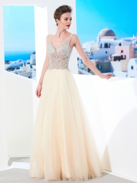 Ball Gown V-neck Floor-length Tulle Dress