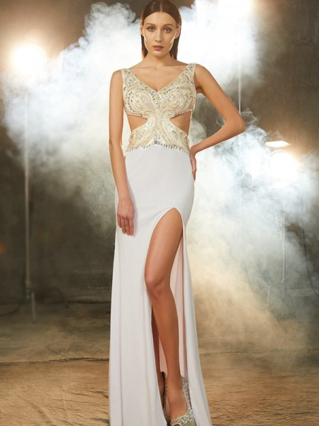 Sheath/Column V-neck Floor-Length Spandex Dress