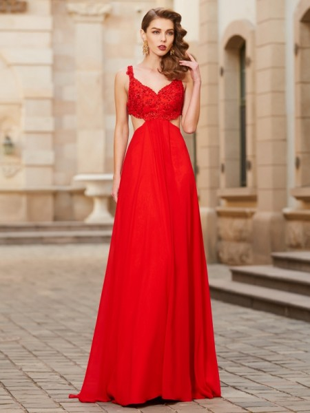 A-Line/Princess Straps Floor-Length Applique Chiffon Dress