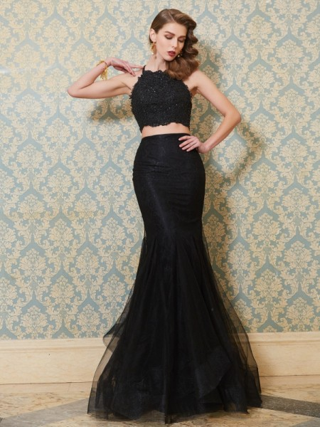 Trumpet/Mermaid Spaghetti Straps Applique Floor-Length Tulle Two Piece Dress