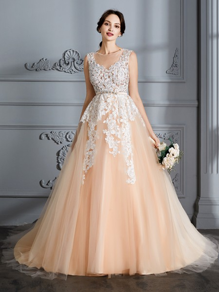 Ball Gown Tulle Scoop Court Train Wedding Dresses