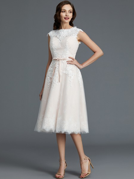 A-Line/Princess Tulle Bateau Knee-Length Wedding Dresses
