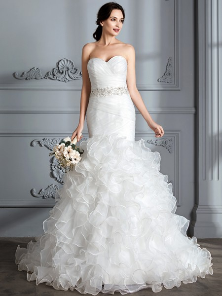 Trumpet/Mermaid Satin Sweetheart Ruffle Sweep/Brush Train Ruffles Wedding Dresses