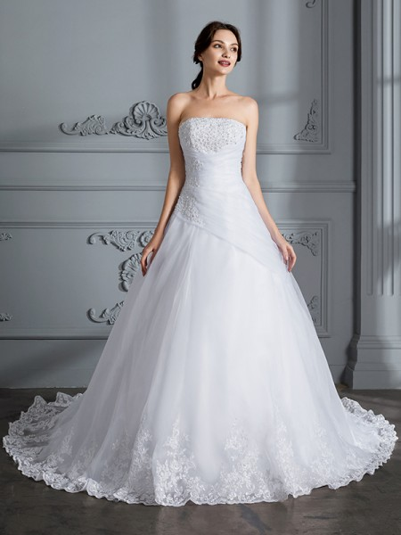 Ball Gown Organza Strapless Court Train Wedding Dresses