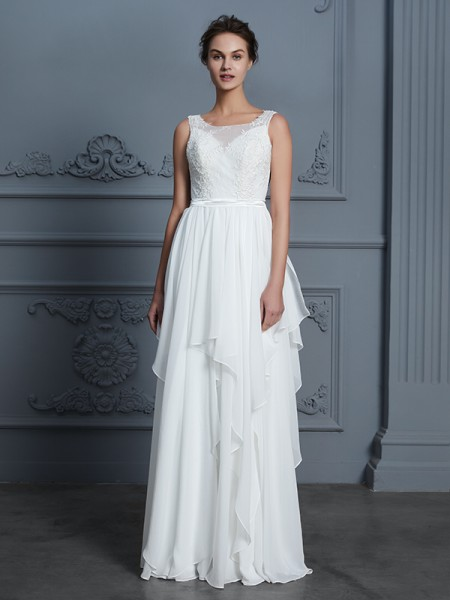 A-Line/Princess Scoop Floor-Length Chiffon Ruffles Wedding Dresses