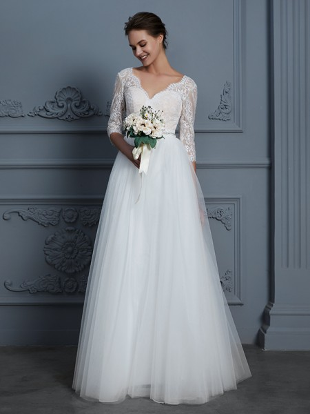 A-Line/Princess V-neck Floor-Length Tulle Wedding Dresses