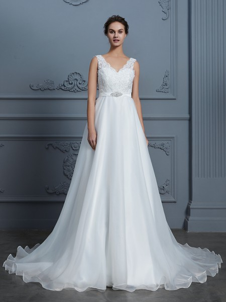 A-Line/Princess V-neck Floor-Length Chiffon Wedding Dresses