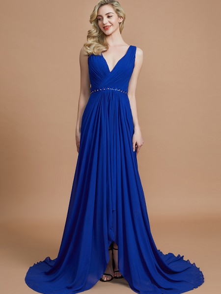 A-Line/Princess Chiffon V-neck Sweep/Brush Train Bridesmaid Dresses