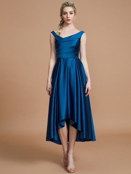 A-Line/Princess V-neck Satin Asymmetrical Bridesmaid Dresses