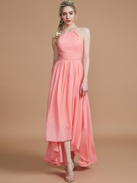 A-Line/Princess Halter Asymmetrical Chiffon Bridesmaid Dresses