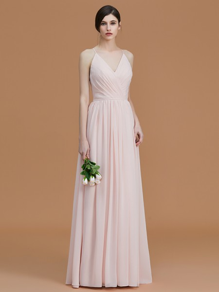 A-Line/Princess Spaghetti Straps Floor-Length Chiffon Ruched Bridesmaid Dresses