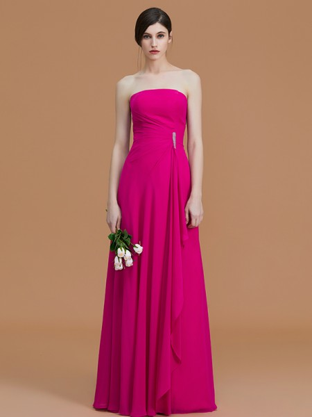 A-Line/Princess Strapless Floor-Length Chiffon Ruffles Bridesmaid Dresses