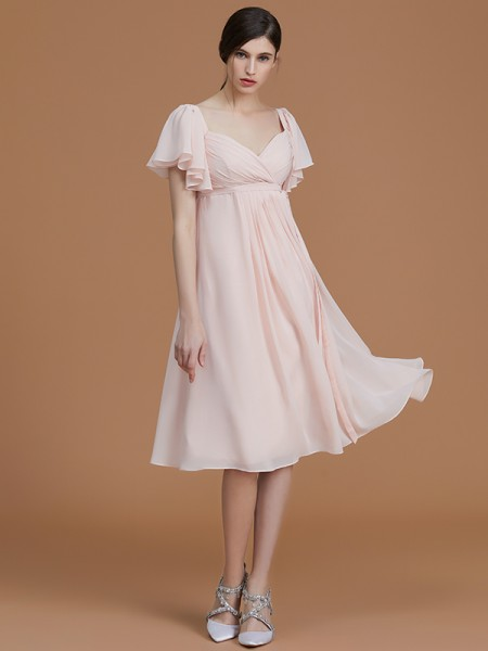 Empire Sweetheart Knee-Length Chiffon Ruched Bridesmaid Dresses