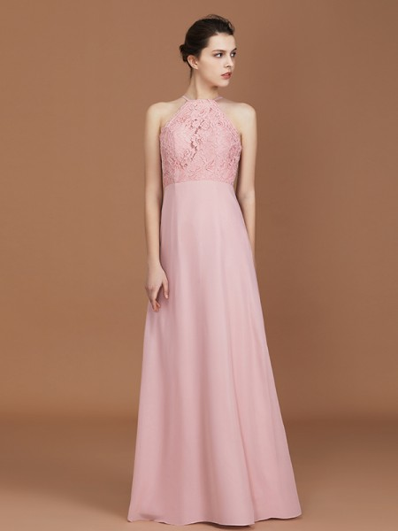 A-Line/Princess Halter Floor-Length Chiffon Bridesmaid Dresses