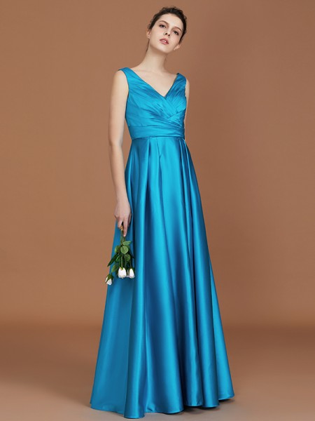 A-Line/Princess V-neck Floor-Length Satin Bridesmaid Dresses