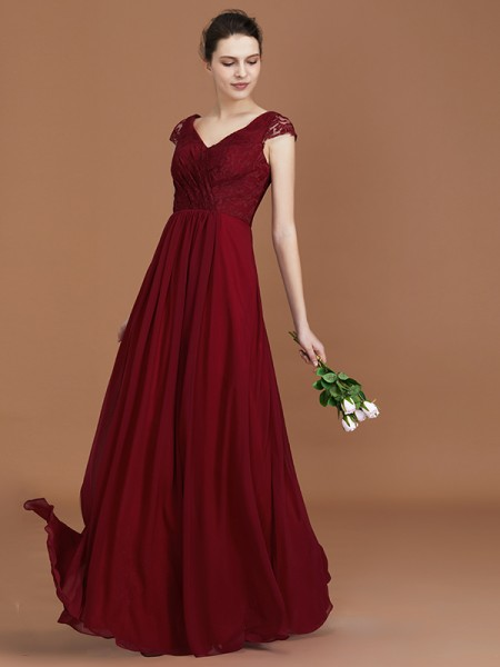A-Line/Princess Lace Chiffon V-neck Floor-Length Ruched Bridesmaid Dresses