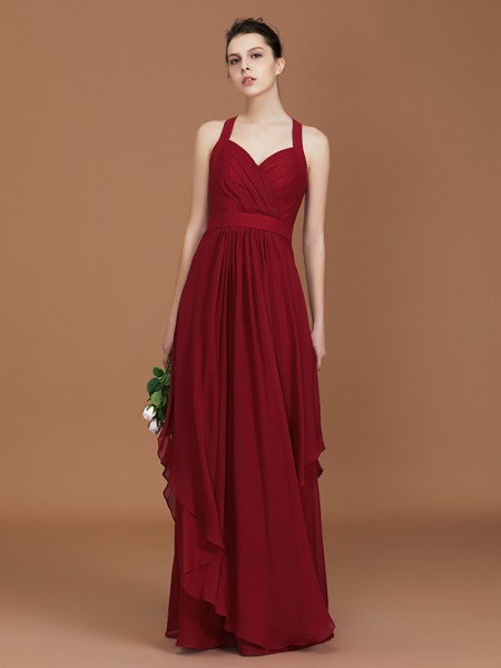 A-Line/Princess Straps Chiffon Floor-Length Ruched Bridesmaid Dresses