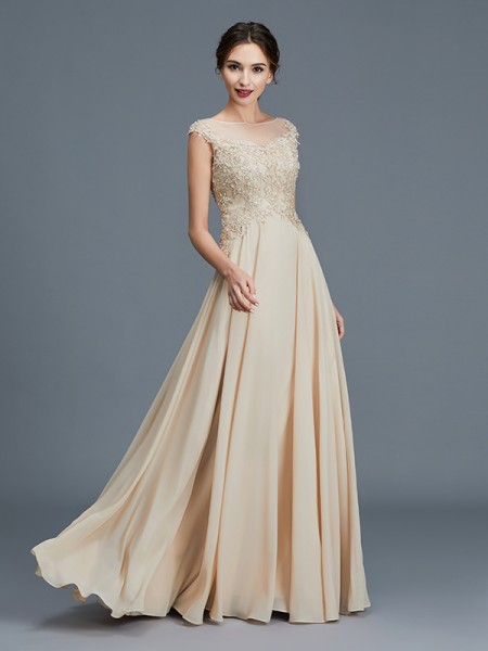 A-Line/Princess Scoop Chiffon Floor-Length Ruffles Mother of the Bride Dresses