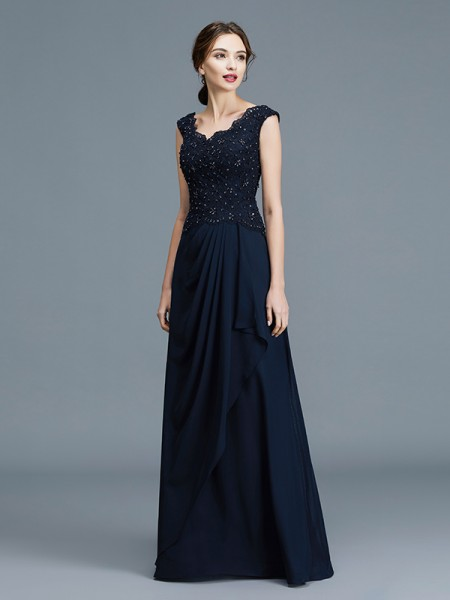 A-Line/Princess V-neck Floor-Length Chiffon Ruffles Mother of the Bride Dresses