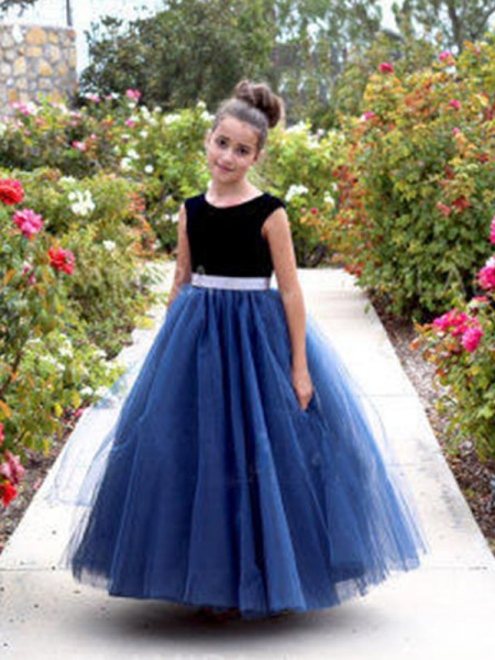 A-Line/Princess Sleeveless Scoop Ankle-Length Sash/Ribbon/Belt Tulle Flower Girl Dress