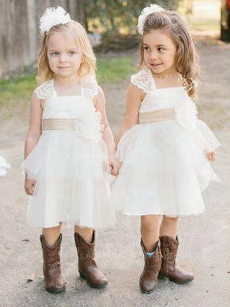 A-Line/Princess Sleeveless Square Knee-Length Sash/Ribbon/Belt Tulle Flower Girl Dress