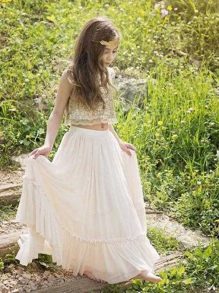 A-Line/Princess Sleeveless Scoop Long Sequin Chiffon Flower Girl Dress
