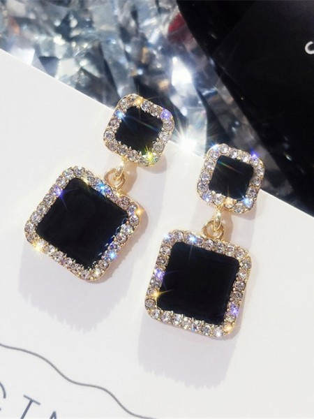 Beautiful Square Rhinestone Earrings