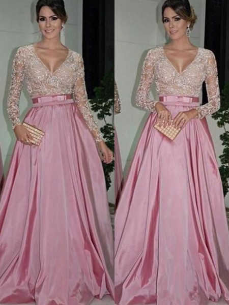 A-Line/Princess Long Sleeves V-neck Long Lace Satin Dress