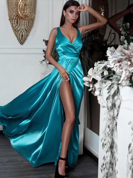 A-Line/Princess Sleeveless V-neck Long Ruffles Satin Dress
