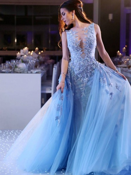 Ball Gown Sleeveless Scoop Sweep/Brush Train Tulle Dress