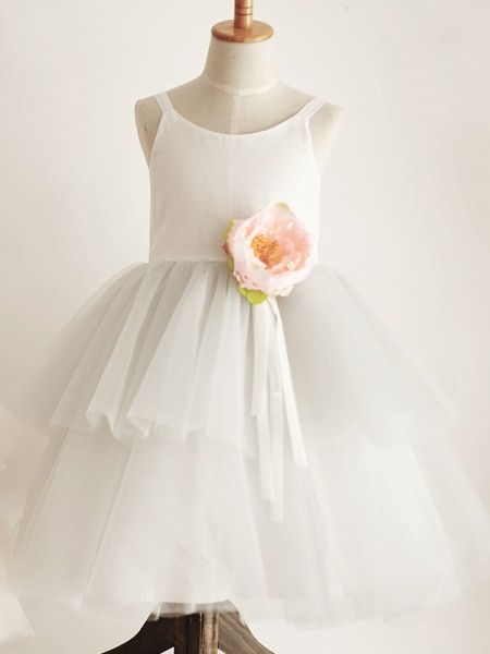 A-Line/Princess Tulle Hand-Made Flower Scoop Sleeveless Knee-Length Flower Girl Dress