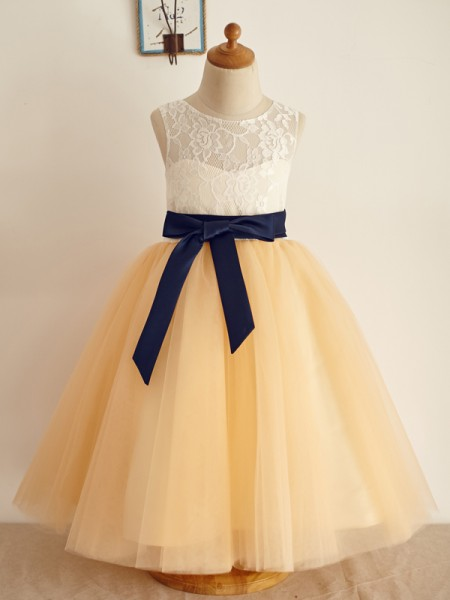 A-Line/Princess Tulle Bowknot Scoop Sleeveless Floor-Length Flower Girl Dress
