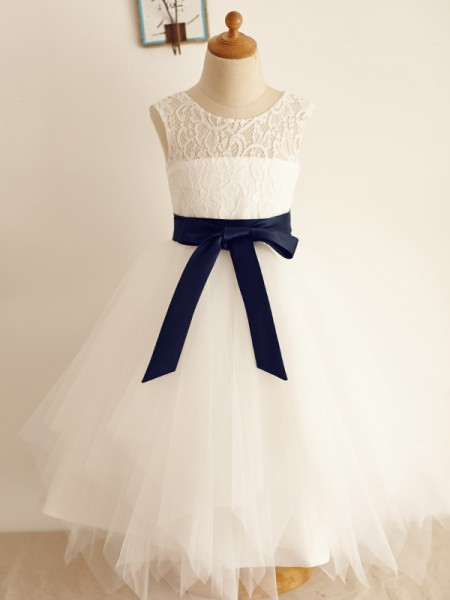 A-Line/Princess Tulle Bowknot Scoop Sleeveless Tea-Length Flower Girl Dress