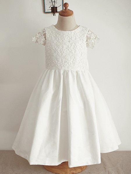 A-Line/Princess Lace Sequin Scoop Sleeveless Knee-Length Flower Girl Dress