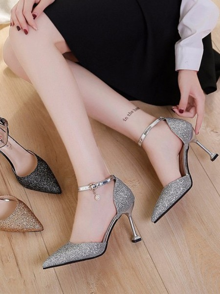 Ladies's Stiletto Heel Closed Toe Sparkling Glitter High Heels