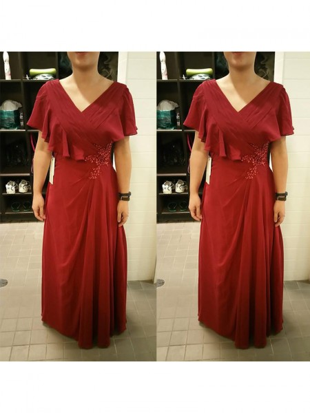 Sheath/Column V-neck Floor-Length Chiffon Mother Of The Bride Dresses