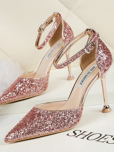 Ladies's Sparkling Glitter Stiletto Heel Closed Toe High Heels