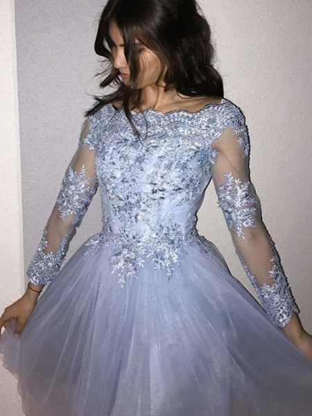 A-Line/Princess Long Sleeves Tulle Short/Mini Dress