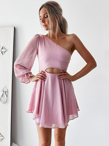 A-Line/Princess Chiffon One-Shoulder Long Sleeves Short/Mini Dress