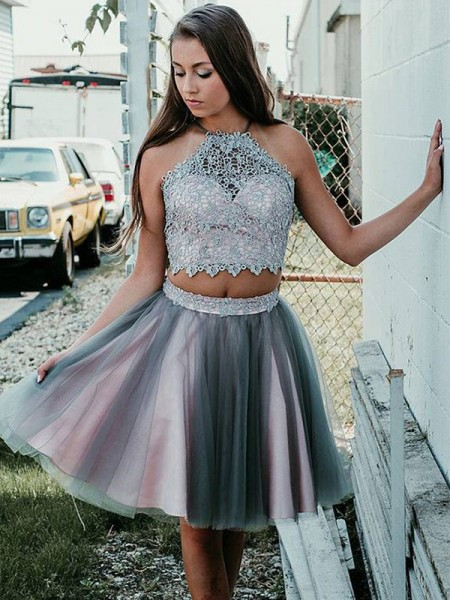 A-Line/Princess Halter Tulle Sleeveless Short/Mini Two Piece Dress