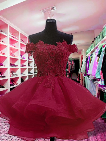 Ball Gown Off-the-Shoulder Sleeveless Short/Mini Dresses with Organza