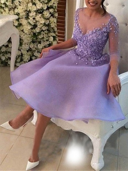 Knee-Length A-Line/Princess V-neck 3/4 Sleeves Dresses with Organza