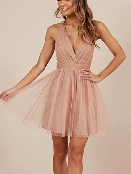A-Line/Princess Sleeveless Halter Tulle Short/Mini Dress