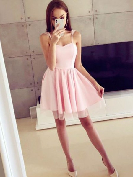 A-Line/Princess Satin Spaghetti Straps Ruched Sleeveless Short/Mini Dress