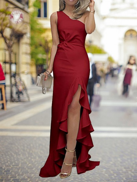 Sheath/Column Sweep/Brush Train One-Shoulder Ruffles Satin Dress