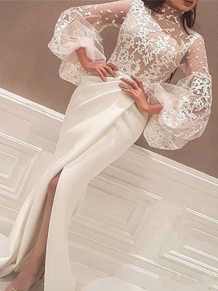 Trumpet/Mermaid Long Sleeves High Neck Sweep/Brush Train Lace Satin Dress