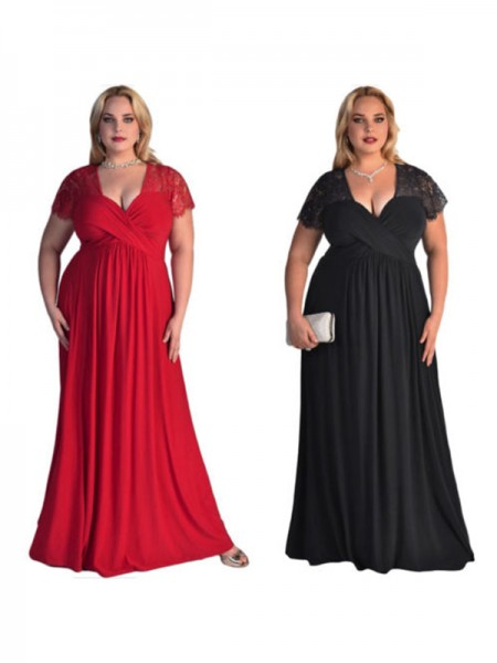 A-Line/Princess Short Sleeves V-neck Long Lace Chiffon Plus Size Dress