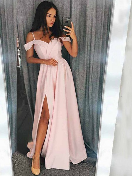 A-Line/Princess Sleeveless Off-the-Shoulder Sweep/Brush Train Satin Dress