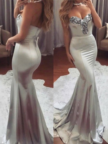 Trumpet/Mermaid Sleeveless Sweetheart Sweep/Brush Train Sequin Satin Dress